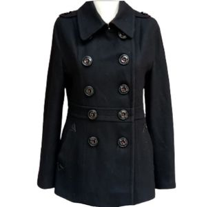 Miss Sixty Black Button Down Wool Coat